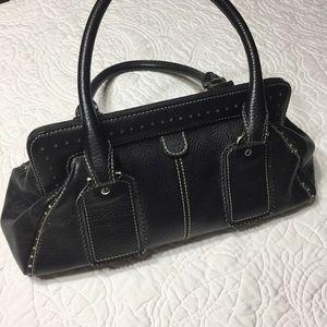 LOFT Black Leather Doctor-Style Bag Magnetic Close